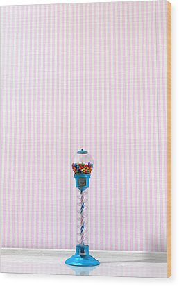 Gumball Machine In A Candy Store Wood Print by Allan Swart