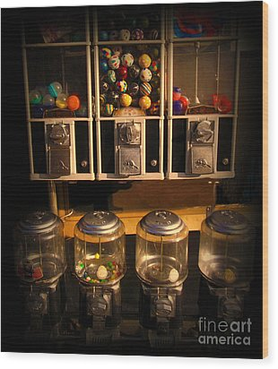 Gumball Memories - Row Of Antique Vintage Vending Machines - Iconic New York City Wood Print