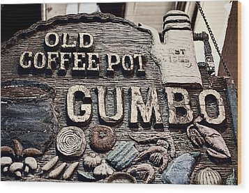 Gumbo Coffee Wood Print