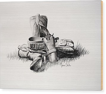 Gun And Holster Wood Print by James Skiles