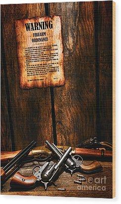 Gun Control Wood Print by Olivier Le Queinec