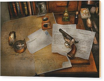 Gun - The Adventure Of Military Life  Wood Print by Mike Savad