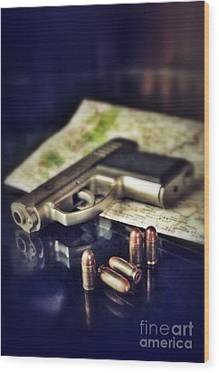 Gun With Bullets And Map Wood Print by Jill Battaglia