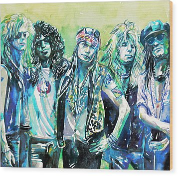 Guns N' Roses - Watercolor Portrait Wood Print by Fabrizio Cassetta
