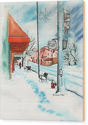 Gurley Street Prescott Arizona On A Cold Winters Day Western Town Wood Print by Sharon Mick