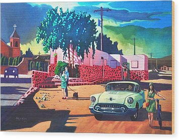 Wood Print featuring the painting Guys Dolls And Pink Adobe by Art James West