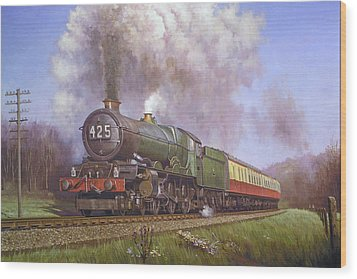 Gwr King Class On Dainton Bank. Wood Print by Mike  Jeffries