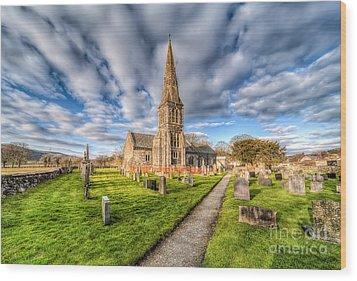 Gwyddelwern Church Wood Print by Adrian Evans
