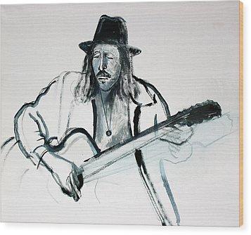 Gypsy Guitarist Wood Print by Asha Carolyn Young