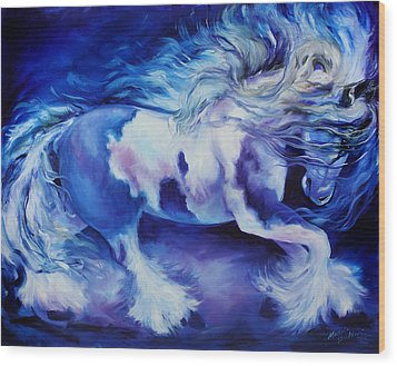 Gypsy Vanner In Blue Wood Print by Marcia Baldwin