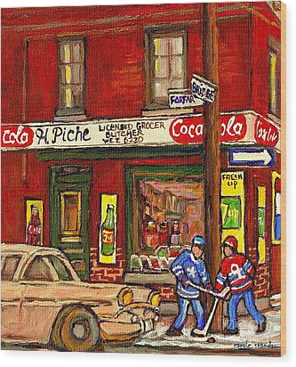 H. Piche Grocery - Goosevillage -paintings Of Montreal History- Neighborhood Boys Play Street Hockey Wood Print by Carole Spandau
