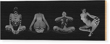 H Stripe Series One Sensual Zebra Woman Abstract Black White Nude 1 To 3 Ratio Wood Print