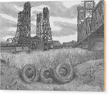 Hackensack River Train Bridge Wood Print