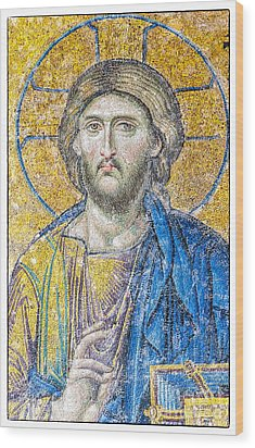 Hagia Sofia Jesus Mosaic Wood Print
