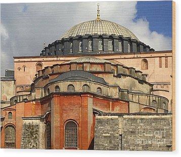 Hagia Sophia Ayasofya Meydani Byzantine Basilica Later Imperial Mosque Istanbul Turkey Wood Print by Ralph A  Ledergerber-Photography