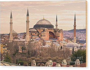 Hagia Sophia Mosque - Istanbul Wood Print by Luciano Mortula