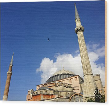 Hagia Sophia With Two Minarets Istanbul Turkey Wood Print by Ralph A  Ledergerber-Photography