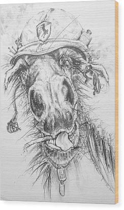 Hair-ied Horse Soilder Wood Print by Scott and Dixie Wiley