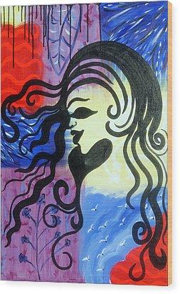Hair Silhouette Wood Print by Lorinda Fore