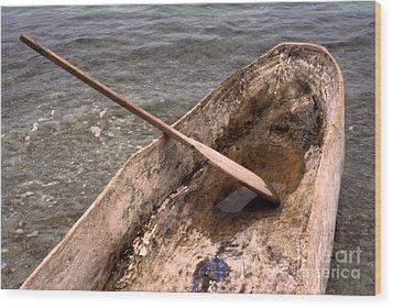 Haitian Dugout Canoe Wood Print by Anna Lisa Yoder