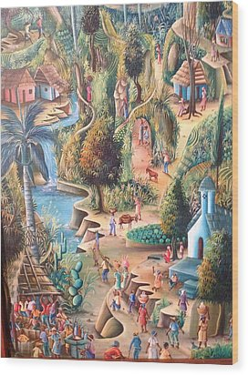 Haitian Village Wood Print by Dimanche from Haiti