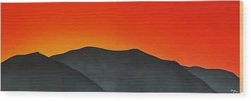 Hakarimata Sunset Wood Print