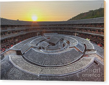 Hakka Tulou Traditional Chinese Housing At Sunset Wood Print by Fototrav Print