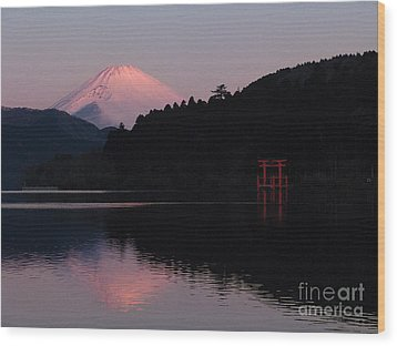 Hakone Waters Fuji  Wood Print by John Swartz