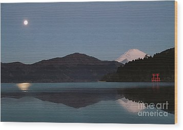Hakone Lake Wood Print by John Swartz