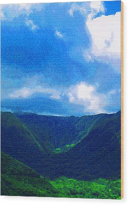 Halawa Valley Wood Print by James Temple