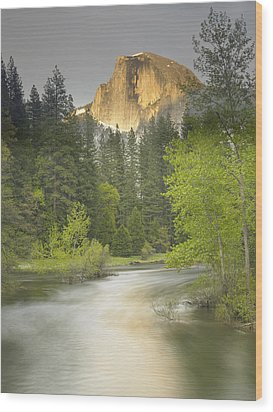 Half Dome And The Merced River At Sunset Wood Print