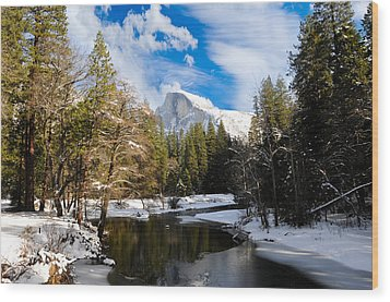 Half Dome In Winter Wood Print by Bonnie Fink