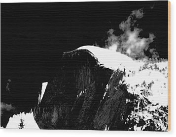 Half Dome In Winter Bw Wood Print