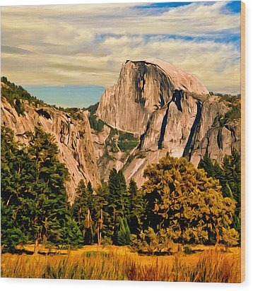 Half Dome Painting Wood Print by Bob and Nadine Johnston
