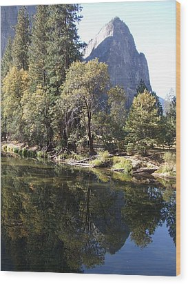 Wood Print featuring the photograph Half Dome Reflection by Richard Reeve