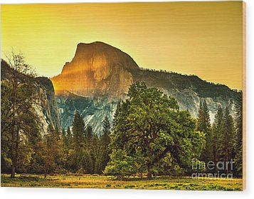 Half Dome Sunrise Wood Print by Az Jackson