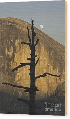 Half Dome With Full Moon Wood Print