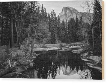 Half Dome - Yosemite In Black And White Wood Print