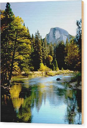 Half Dome Yosemite River Valley Wood Print by Bob and Nadine Johnston