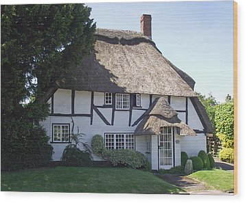 Half-timbered Thatched Cottage Wood Print by Jayne Wilson