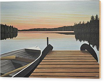 Wood Print featuring the painting Haliburton Dock by Kenneth M  Kirsch