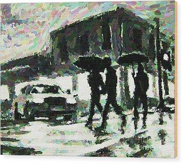 Halifax In The Rain One Wood Print by John Malone