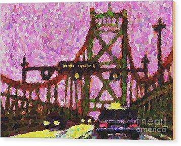 Halifax Macdonald Bridge Pointillist Wood Print by John Malone