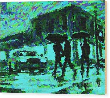 Halifax On A Rainy Night Wood Print by Halifax Artist John Malone