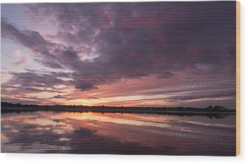 Halifax River Sunset Wood Print by Paul Rebmann