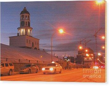 Halifax Town Clock In Halifax Nova Scotia Wood Print by Halifax photographer John Malone