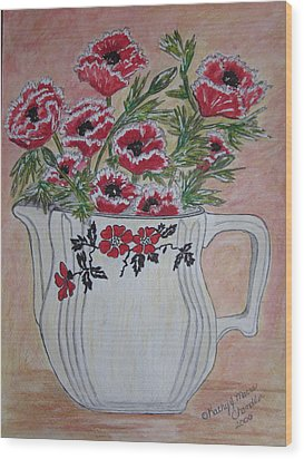 Hall China Red Poppy And Poppies Wood Print by Kathy Marrs Chandler