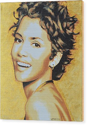 Halle Berry Wood Print