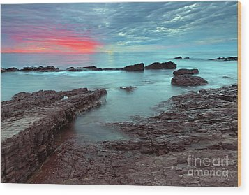 Hallett Cove Sunset Wood Print by Bill  Robinson