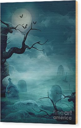 Halloween Background - Spooky Graveyard Wood Print by Mythja  Photography